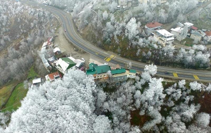 Bolu'da kar manzarası havadan görüntülendi